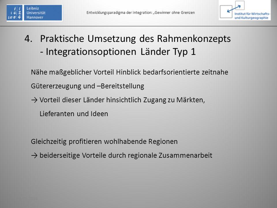 4.Praktische Umsetzung des Rahmenkonzepts - Integrationsoptionen Länder Typ 1 Entwicklungsparadigma der Integration: Gewinner ohne Grenzen Nähe maßgeb