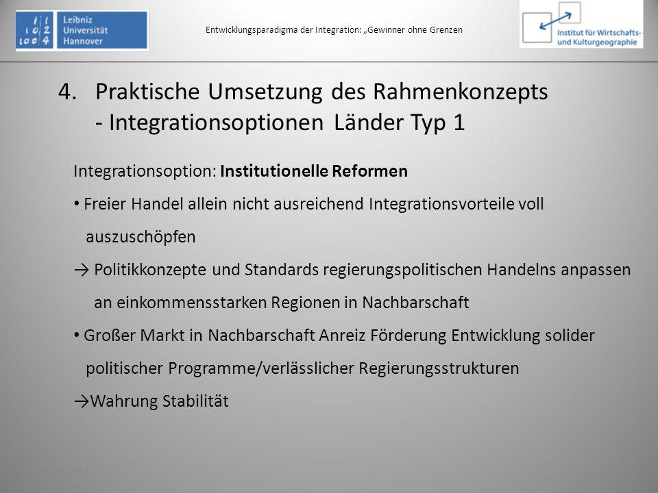 4.Praktische Umsetzung des Rahmenkonzepts - Integrationsoptionen Länder Typ 1 Entwicklungsparadigma der Integration: Gewinner ohne Grenzen Integration