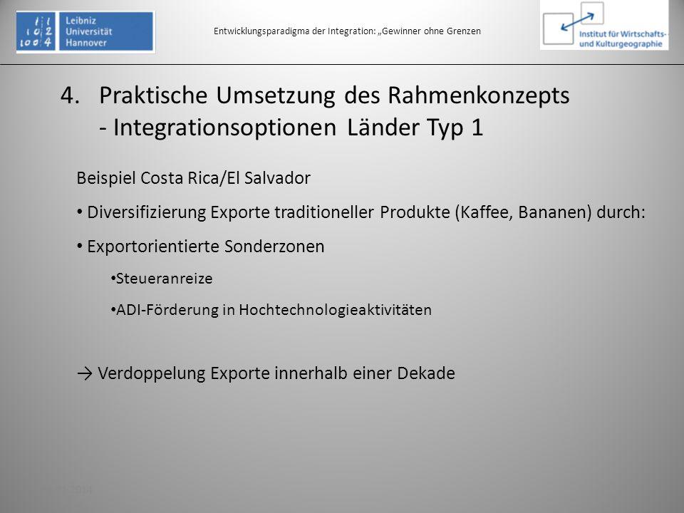 4.Praktische Umsetzung des Rahmenkonzepts - Integrationsoptionen Länder Typ 1 Entwicklungsparadigma der Integration: Gewinner ohne Grenzen Beispiel Co