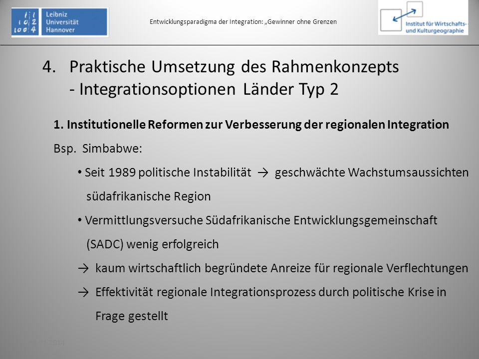 4.Praktische Umsetzung des Rahmenkonzepts - Integrationsoptionen Länder Typ 2 Entwicklungsparadigma der Integration: Gewinner ohne Grenzen 1. Institut