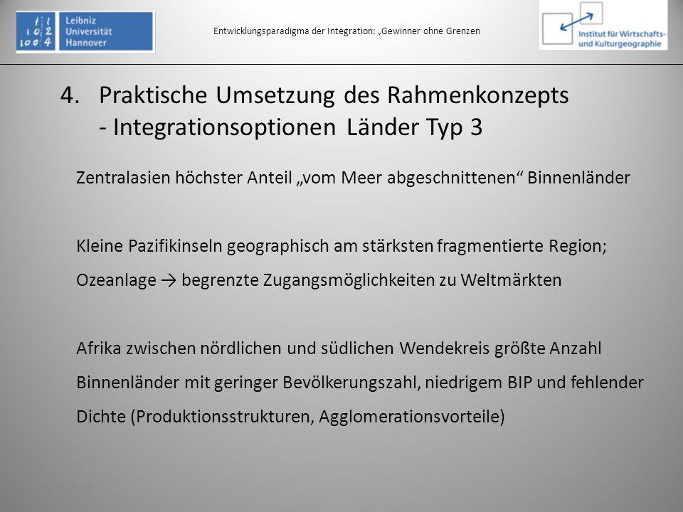 4.Praktische Umsetzung des Rahmenkonzepts - Integrationsoptionen Länder Typ 3 Entwicklungsparadigma der Integration: Gewinner ohne Grenzen Zentralasie