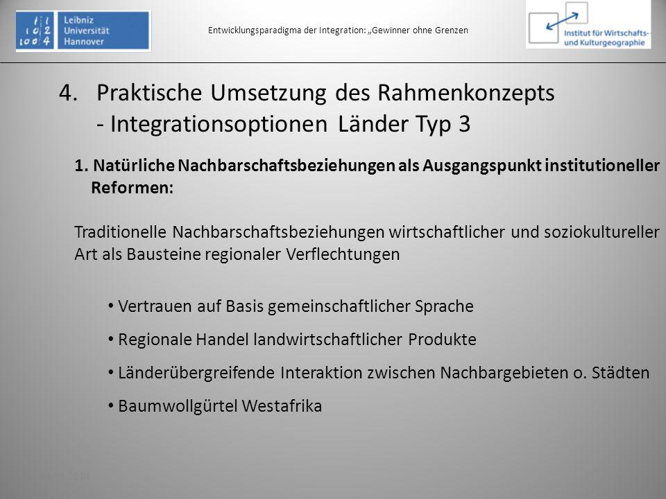 4.Praktische Umsetzung des Rahmenkonzepts - Integrationsoptionen Länder Typ 3 Entwicklungsparadigma der Integration: Gewinner ohne Grenzen 1. Natürlic