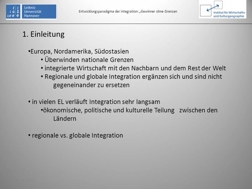 1. Einleitung Entwicklungsparadigma der Integration: Gewinner ohne Grenzen Europa, Nordamerika, Südostasien Überwinden nationale Grenzen integrierte W