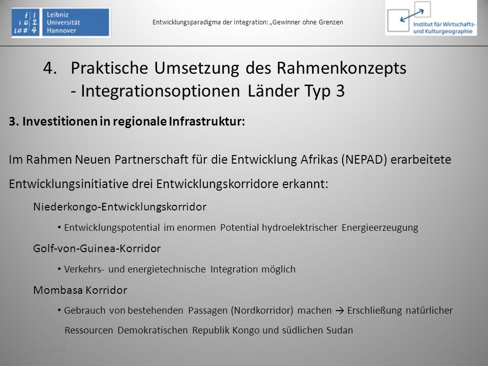Entwicklungsparadigma der Integration: Gewinner ohne Grenzen 3. Investitionen in regionale Infrastruktur: Im Rahmen Neuen Partnerschaft für die Entwic