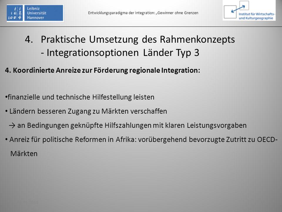 Entwicklungsparadigma der Integration: Gewinner ohne Grenzen 4. Koordinierte Anreize zur Förderung regionale Integration: finanzielle und technische H