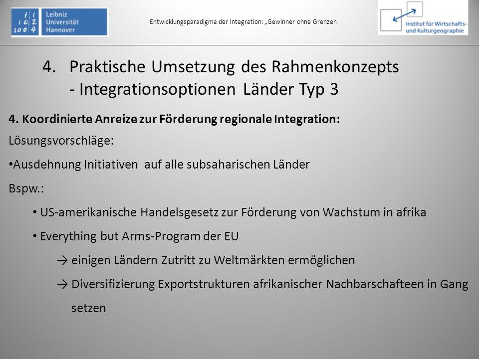 Entwicklungsparadigma der Integration: Gewinner ohne Grenzen 4. Koordinierte Anreize zur Förderung regionale Integration: Lösungsvorschläge: Ausdehnun