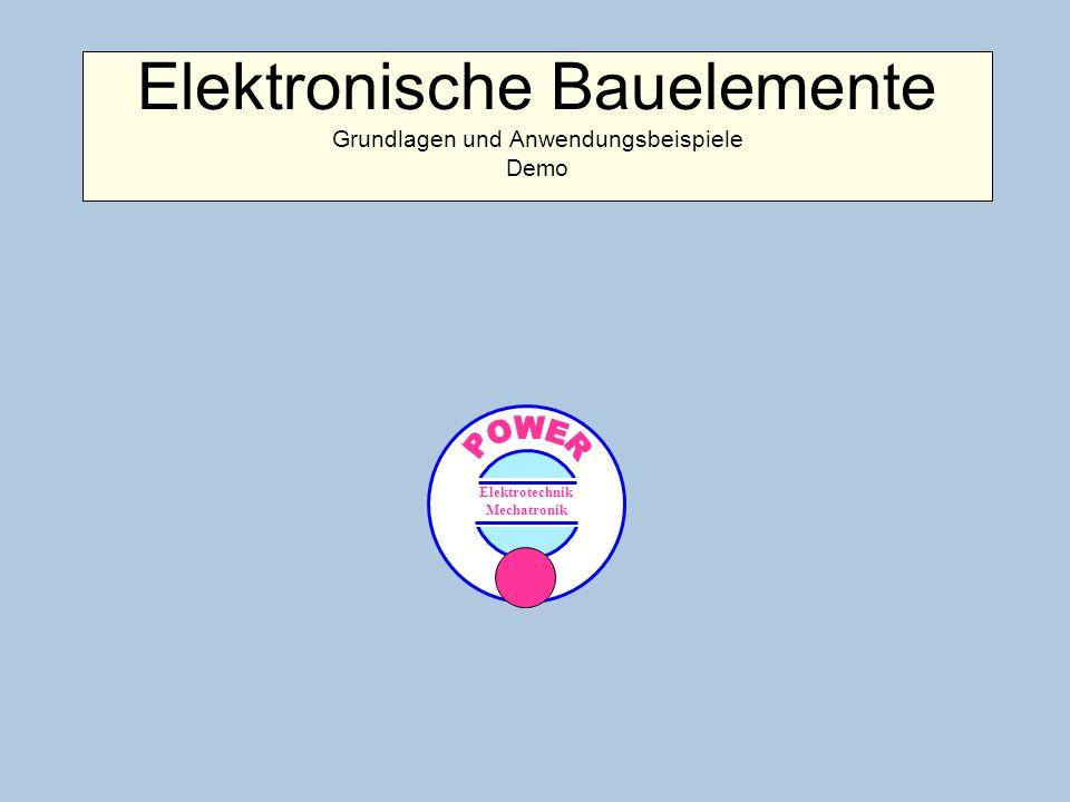 EinführungEinführung VorbemerkungenVorbemerkungen 1.Temperaturabhängige Widerstände 1.1 Kaltleiter PTC 1.2 Heißleiter NTC 2.Spannungsabhängiger Widerstand VDR 3.Magnetfeldabhängiger Widerstand MDR 4.Lichtabhängiger Widerstand LDR 5.Halbleiterdioden 5.1 Gleichrichterdiode 5.2 Z-Diode 5.3 Leuchtdiode LED 6.Transistoren 6.1 Bipolarer Transistor 6.2 Feldeffekttransistor FET 6.3 IGBT 6.4 Fototransistor 7.Thyristoren 7.1 Thyristortriode 7.2 GTO- u.
