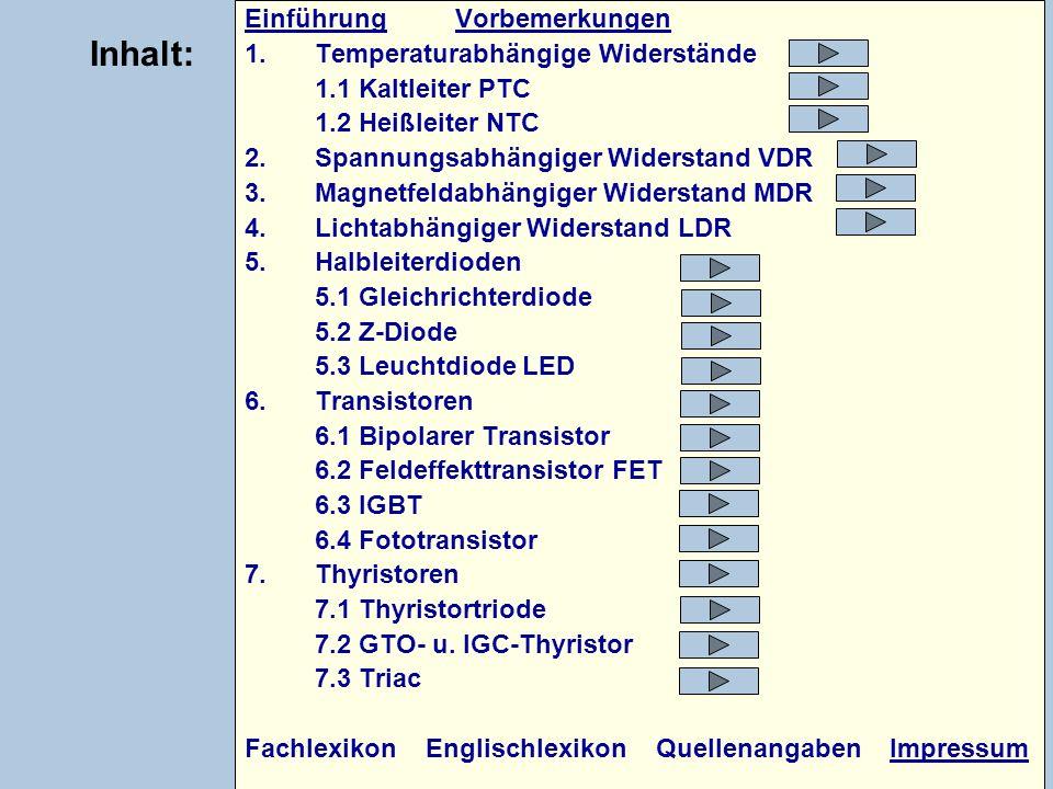 EinführungEinführung VorbemerkungenVorbemerkungen 1.Temperaturabhängige Widerstände 1.1 Kaltleiter PTC 1.2 Heißleiter NTC 2.Spannungsabhängiger Widers