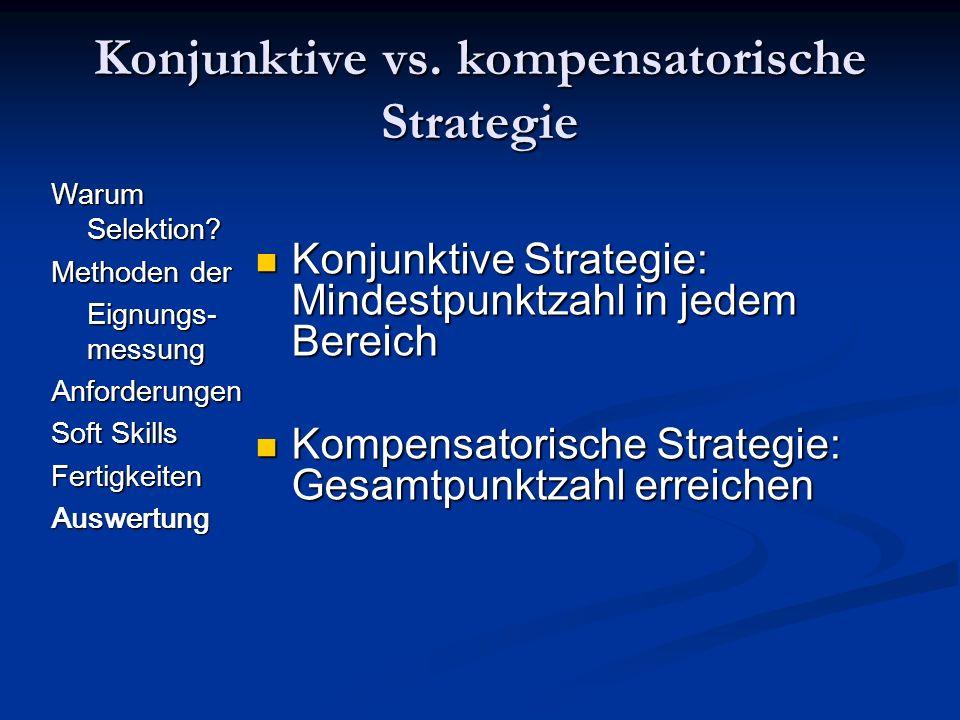 Konjunktive vs. kompensatorische Strategie Warum Selektion? Methoden der Eignungs- messung Anforderungen Soft Skills FertigkeitenAuswertung Konjunktiv