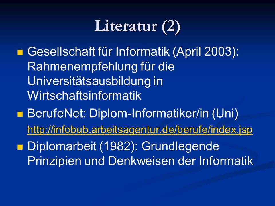 Literatur (2) Gesellschaft für Informatik (April 2003): Rahmenempfehlung für die Universitätsausbildung in Wirtschaftsinformatik BerufeNet: Diplom-Inf
