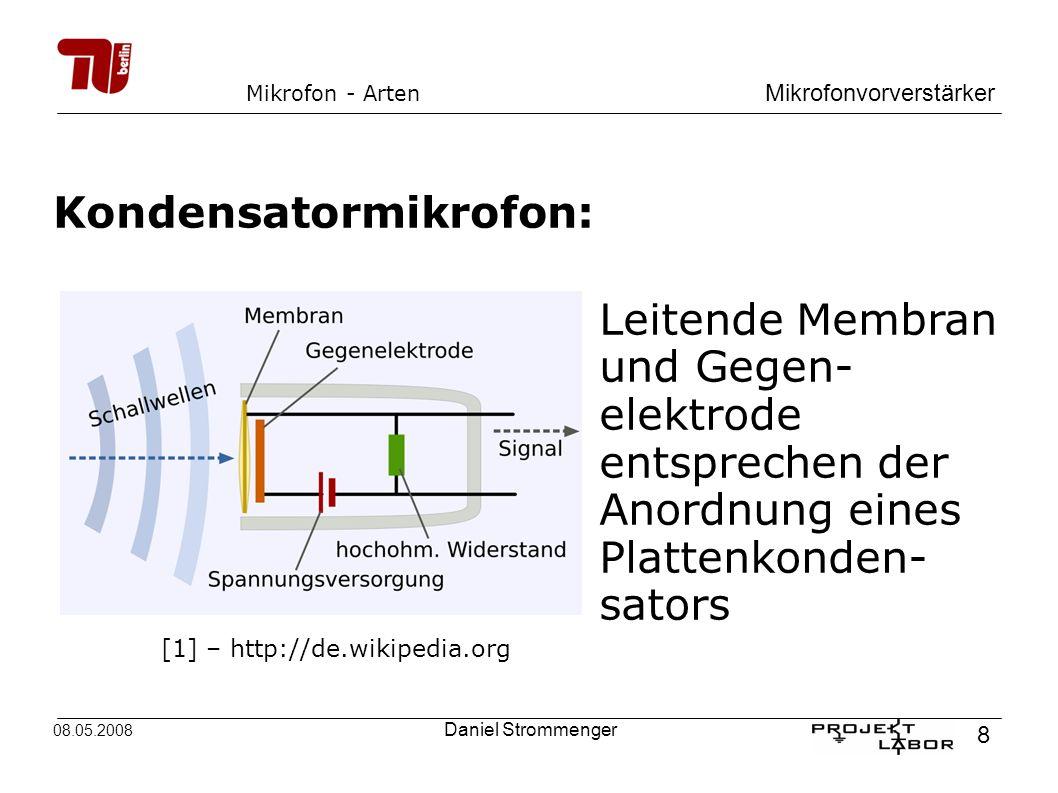 Mikrofonvorverstärker 8 08.05.2008 Daniel Strommenger Mikrofon - Arten Kondensatormikrofon: Leitende Membran und Gegen- elektrode entsprechen der Anor