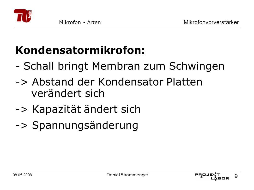 Mikrofonvorverstärker 9 08.05.2008 Daniel Strommenger Mikrofon - Arten Kondensatormikrofon: -Schall bringt Membran zum Schwingen -> Abstand der Konden