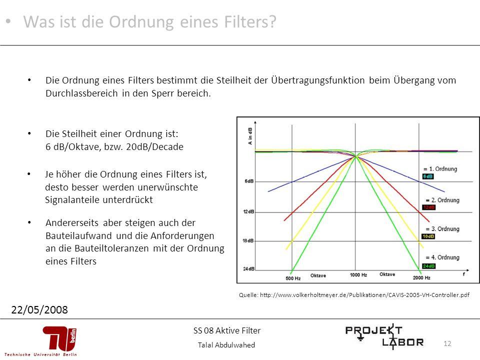 12 Quelle: http://www.volkerholtmeyer.de/Publikationen/CAVIS-2005-VH-Controller.pdf Was ist die Ordnung eines Filters? 22/05/2008 Die Ordnung eines Fi