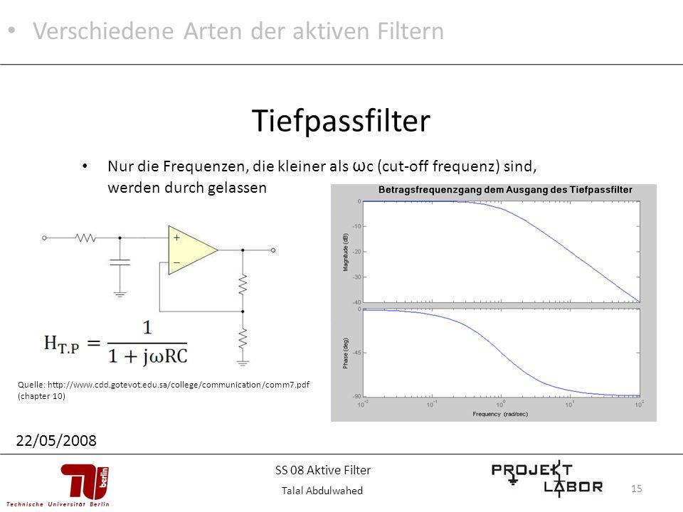 15 Nur die Frequenzen, die kleiner als ω c (cut-off frequenz) sind, werden durch gelassen Tiefpassfilter Quelle: http://www.cdd.gotevot.edu.sa/college