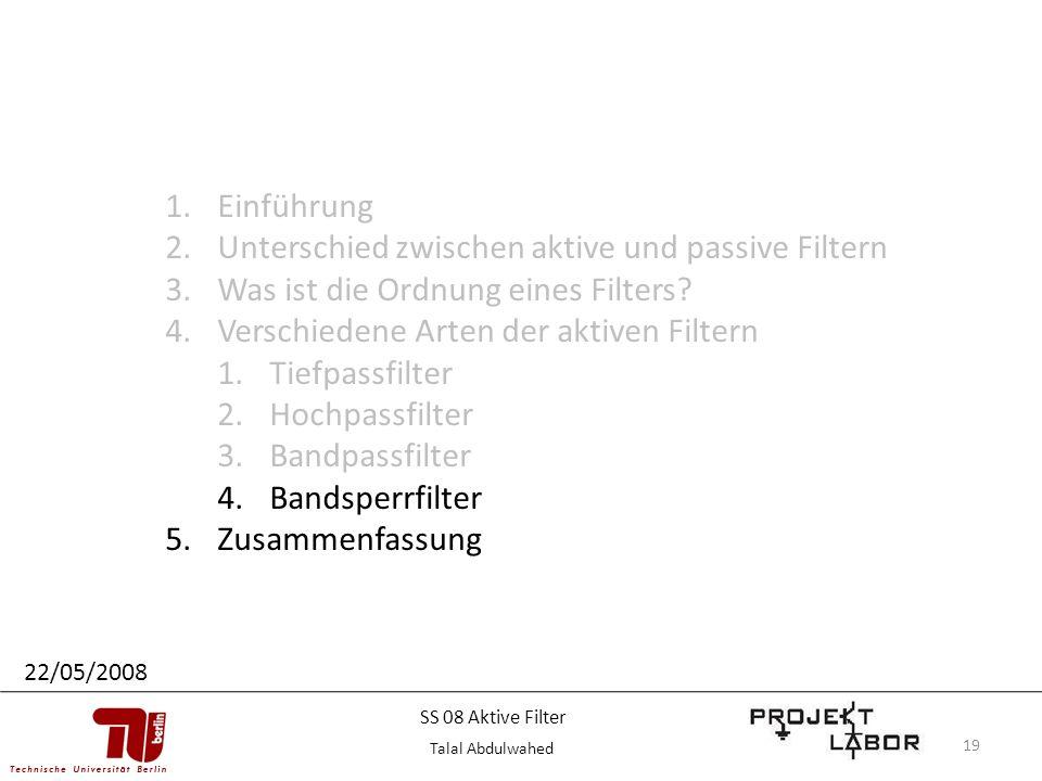 19 1.Einführung 2.Unterschied zwischen aktive und passive Filtern 3.Was ist die Ordnung eines Filters? 4.Verschiedene Arten der aktiven Filtern 1.Tief