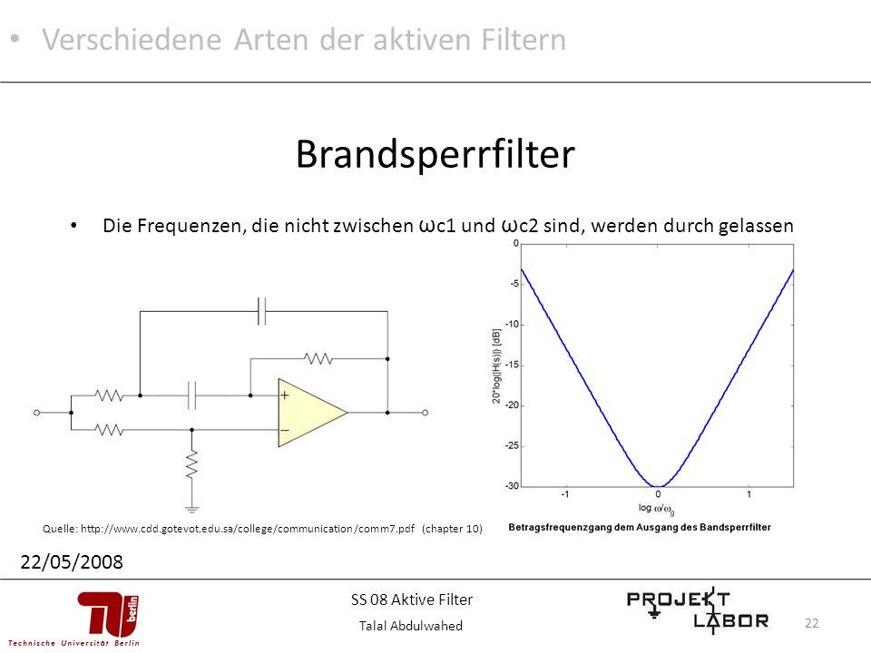 22 Die Frequenzen, die nicht zwischen ω c1 und ω c2 sind, werden durch gelassen Brandsperrfilter Quelle: http://www.cdd.gotevot.edu.sa/college/communi