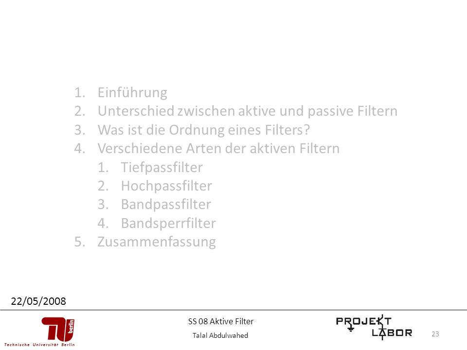 23 1.Einführung 2.Unterschied zwischen aktive und passive Filtern 3.Was ist die Ordnung eines Filters? 4.Verschiedene Arten der aktiven Filtern 1.Tief