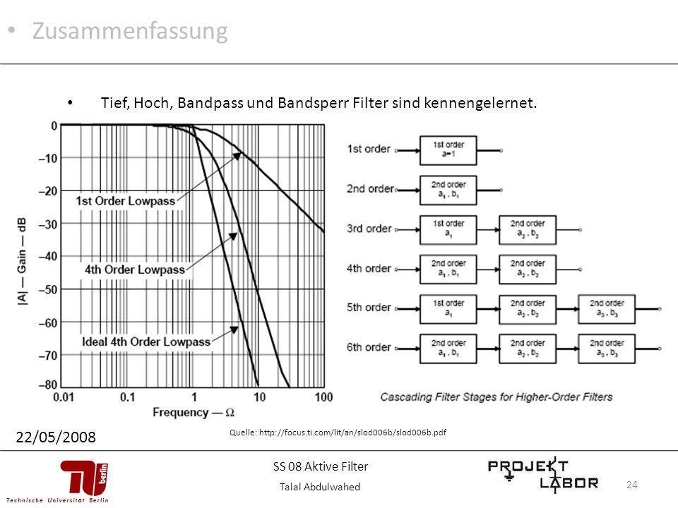 24 Zusammenfassung 22/05/2008 Tief, Hoch, Bandpass und Bandsperr Filter sind kennengelernet. Quelle: http://focus.ti.com/lit/an/slod006b/slod006b.pdf