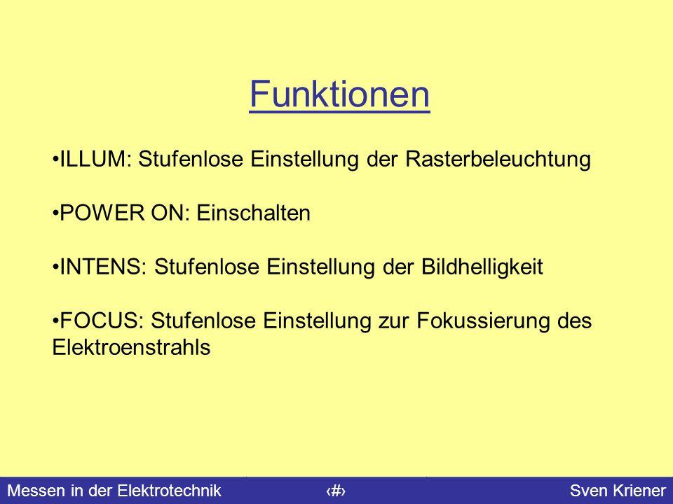 Messen in der Elektrotechnik#Sven Kriener Funktionen ILLUM: Stufenlose Einstellung der Rasterbeleuchtung POWER ON: Einschalten INTENS: Stufenlose Eins