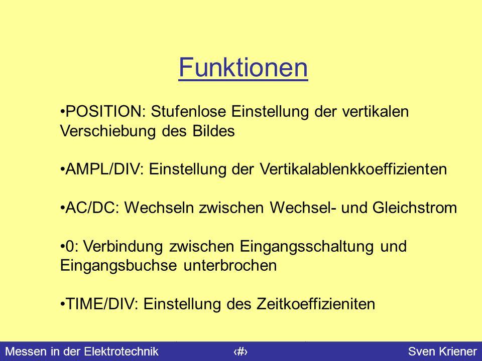 Messen in der Elektrotechnik#Sven Kriener Funktionen POSITION: Stufenlose Einstellung der vertikalen Verschiebung des Bildes AMPL/DIV: Einstellung der