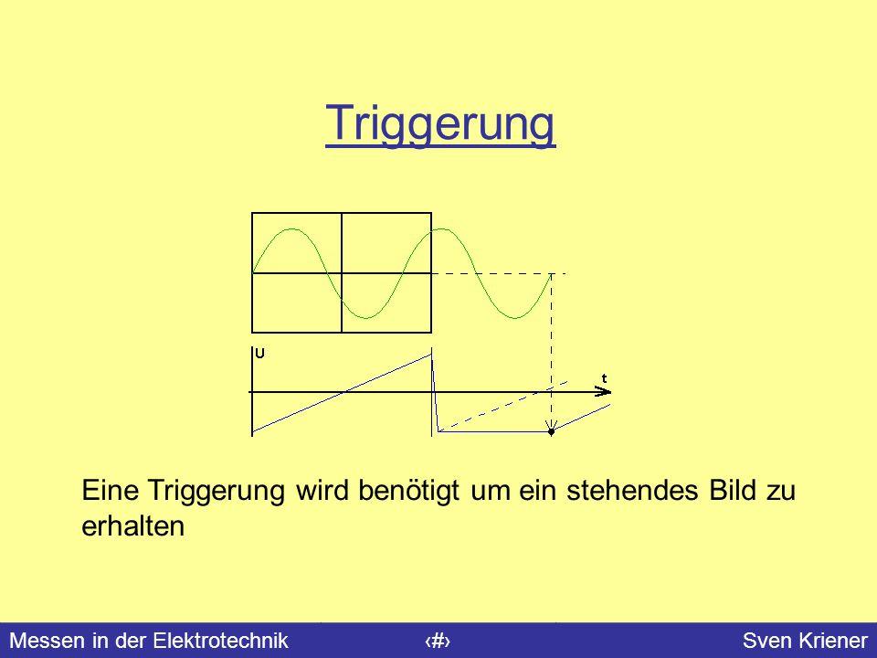 Messen in der Elektrotechnik#Sven Kriener Triggerung Eine Triggerung wird benötigt um ein stehendes Bild zu erhalten
