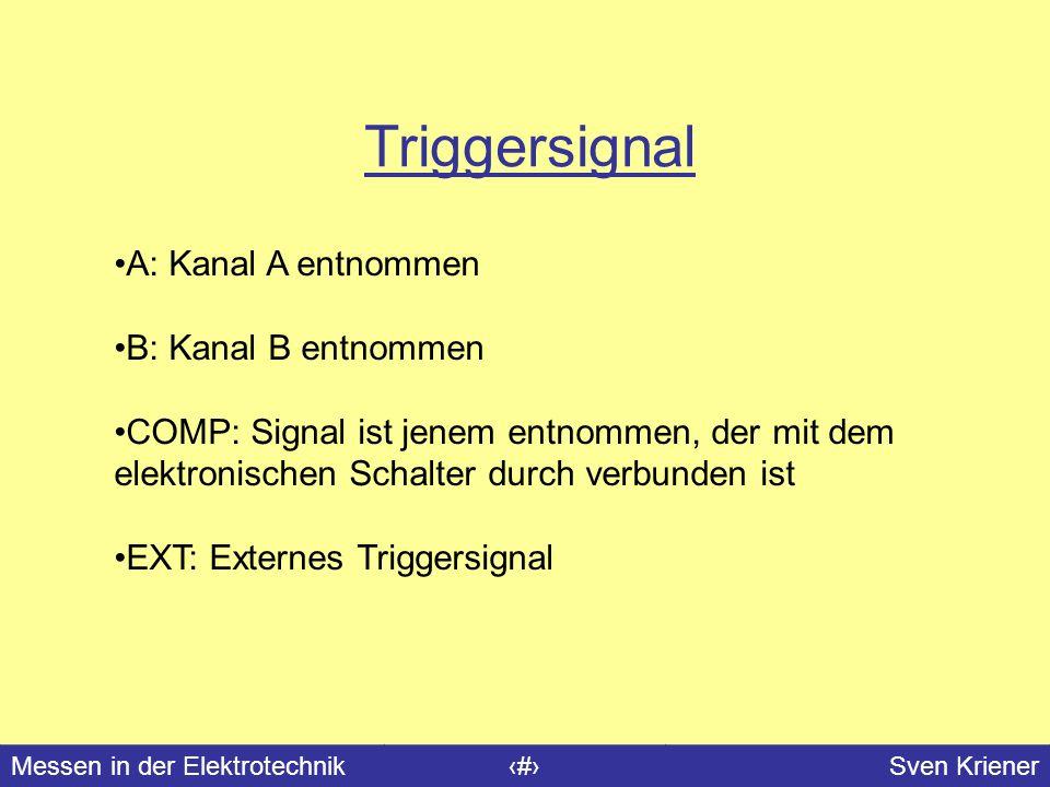 Messen in der Elektrotechnik#Sven Kriener Triggersignal A: Kanal A entnommen B: Kanal B entnommen COMP: Signal ist jenem entnommen, der mit dem elektr