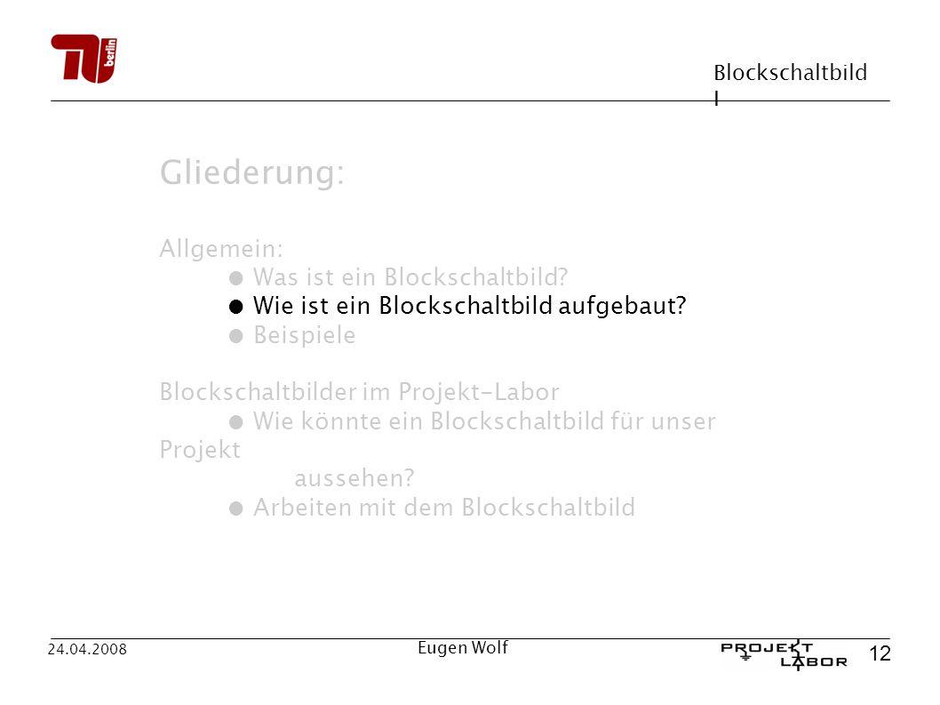 Blockschaltbild I 12 24.04.2008 Eugen Wolf Gliederung: Allgemein: Was ist ein Blockschaltbild? Wie ist ein Blockschaltbild aufgebaut? Beispiele Blocks