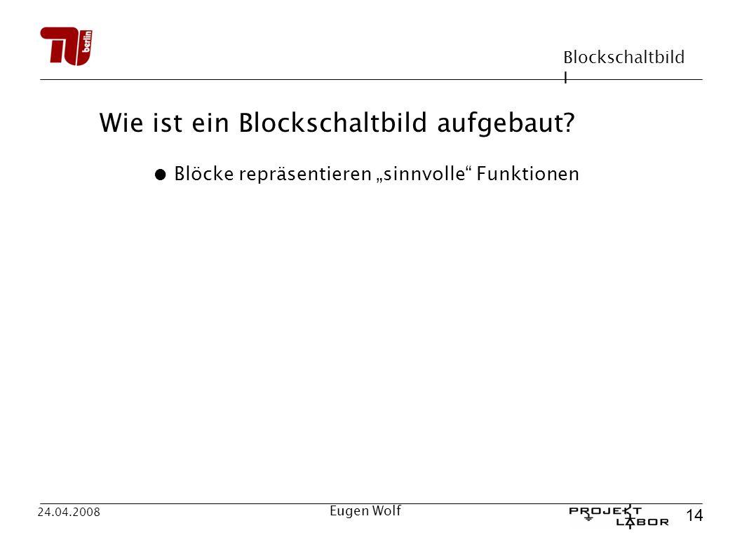 Blockschaltbild I 14 24.04.2008 Eugen Wolf Wie ist ein Blockschaltbild aufgebaut? Blöcke repräsentieren sinnvolle Funktionen