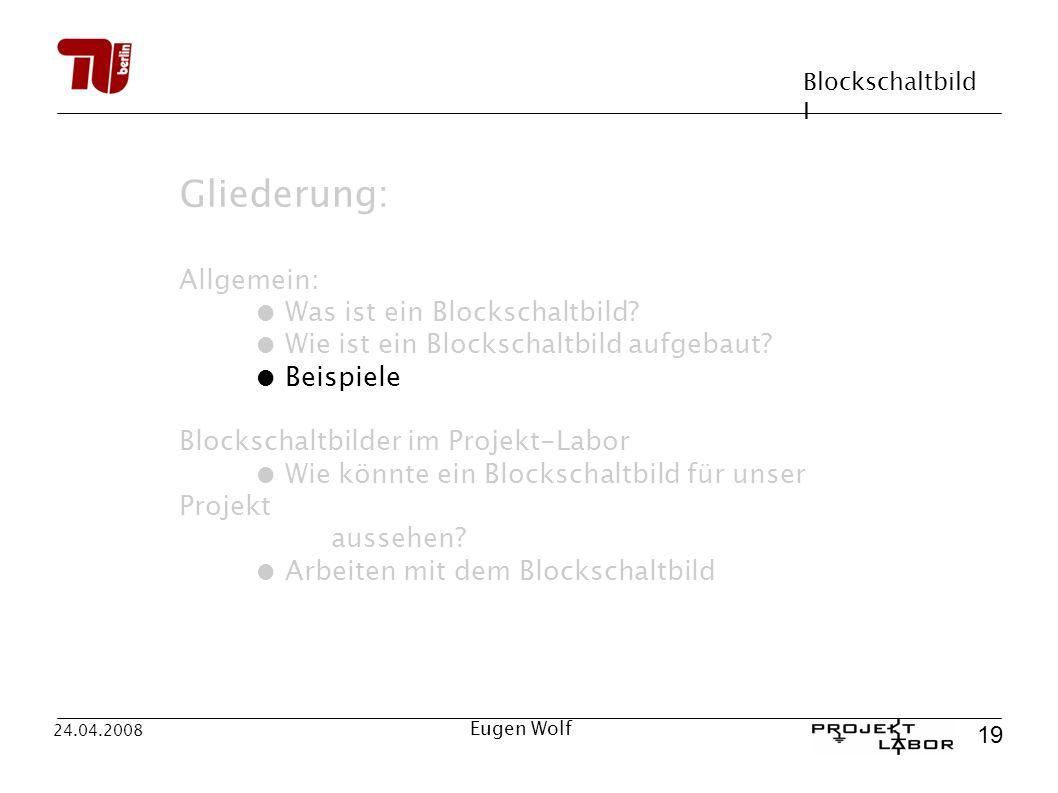 Blockschaltbild I 19 24.04.2008 Eugen Wolf Gliederung: Allgemein: Was ist ein Blockschaltbild? Wie ist ein Blockschaltbild aufgebaut? Beispiele Blocks