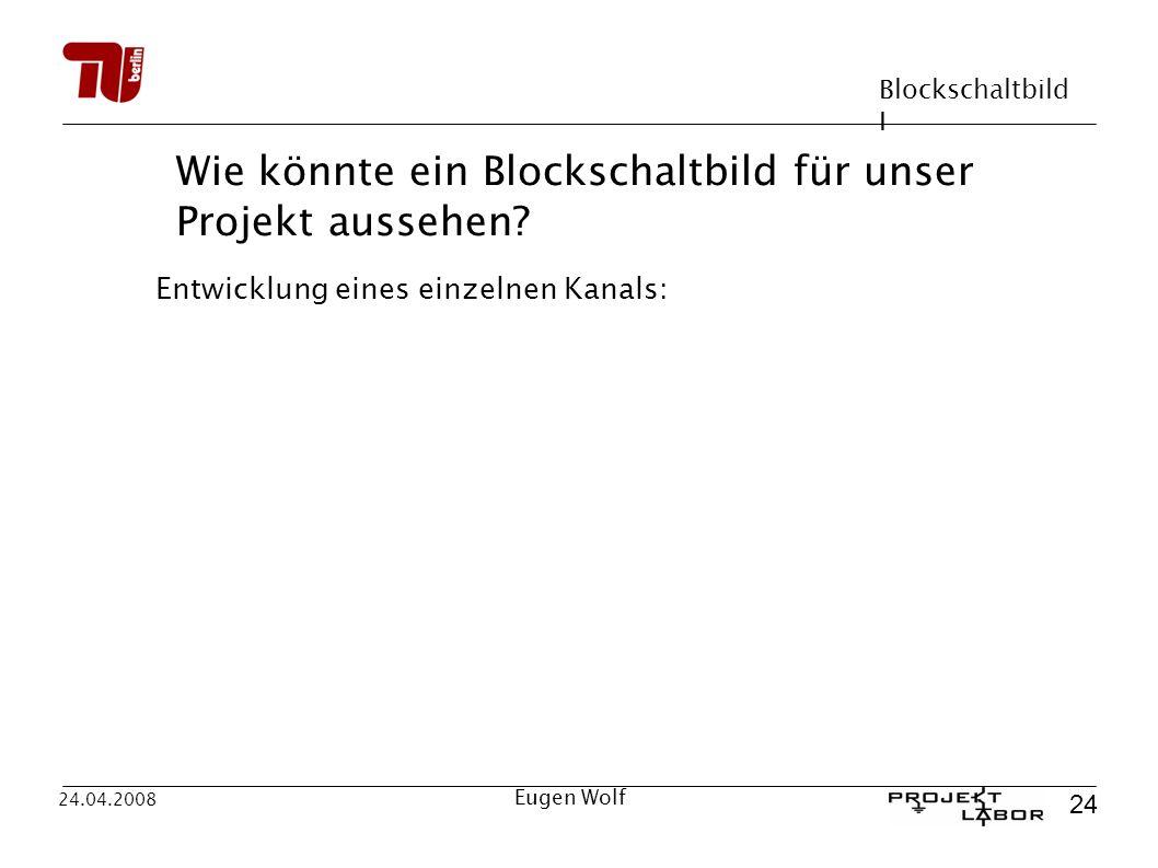 Blockschaltbild I 24 24.04.2008 Eugen Wolf Wie könnte ein Blockschaltbild für unser Projekt aussehen? Entwicklung eines einzelnen Kanals: