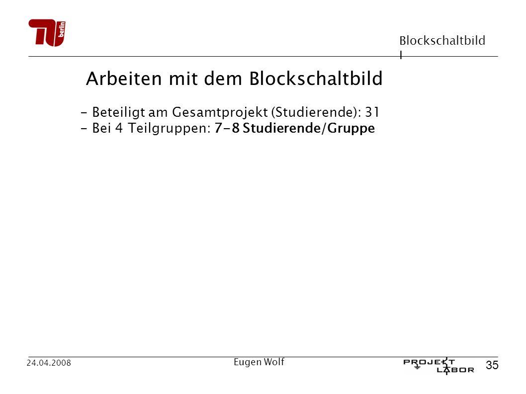 Blockschaltbild I 35 24.04.2008 Eugen Wolf Arbeiten mit dem Blockschaltbild - Beteiligt am Gesamtprojekt (Studierende): 31 - Bei 4 Teilgruppen: 7-8 Studierende/Gruppe