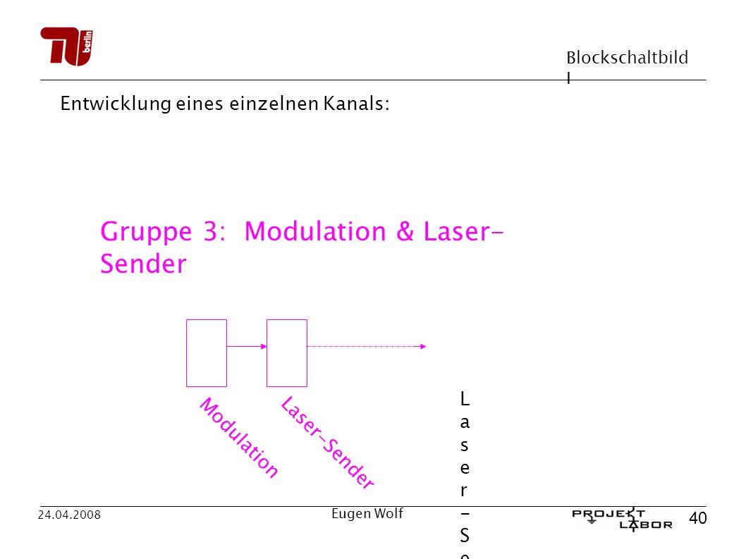 Blockschaltbild I 40 24.04.2008 Eugen Wolf Entwicklung eines einzelnen Kanals: Modulation Laser-Sender Laser-SenderLaser-Sender Gruppe 3: Modulation & Laser- Sender