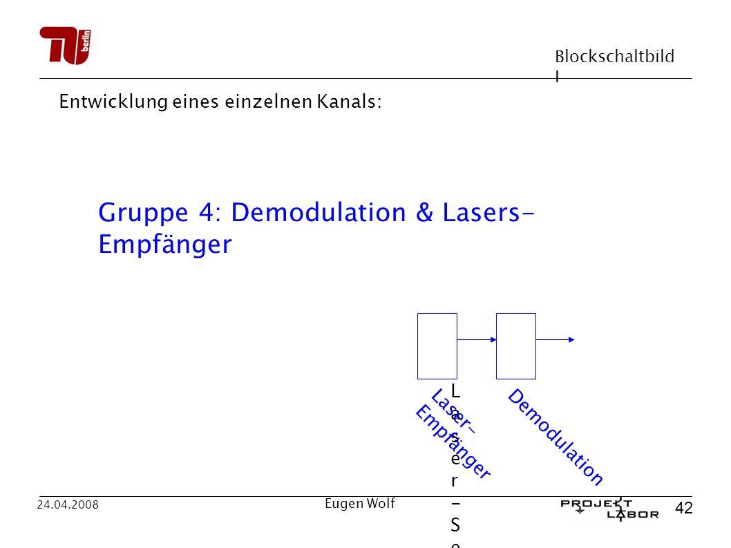 Blockschaltbild I 42 24.04.2008 Eugen Wolf Entwicklung eines einzelnen Kanals: Laser-SenderLaser-Sender Laser- Empfänger Demodulation Gruppe 4: Demodulation & Lasers- Empfänger