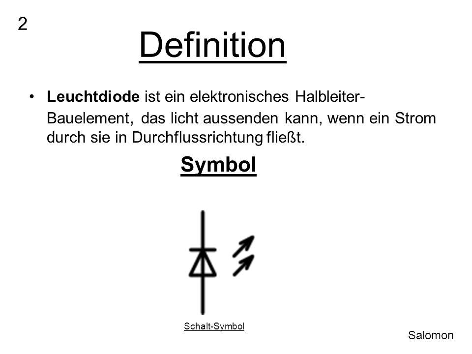 Definition Leuchtdiode ist ein elektronisches Halbleiter- Bauelement, das licht aussenden kann, wenn ein Strom durch sie in Durchflussrichtung fließt.