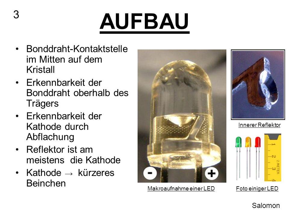 AUFBAU Bonddraht-Kontaktstelle im Mitten auf dem Kristall Erkennbarkeit der Bonddraht oberhalb des Trägers Erkennbarkeit der Kathode durch Abflachung