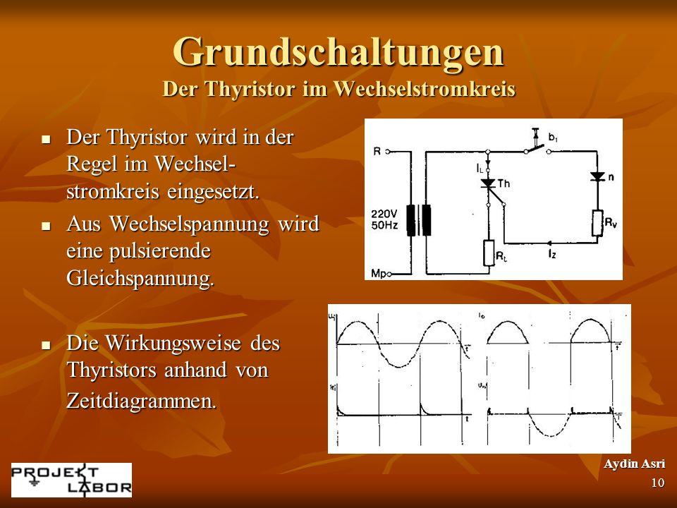 Grundschaltungen Der Thyristor im Wechselstromkreis Der Thyristor wird in der Regel im Wechsel- stromkreis eingesetzt. Der Thyristor wird in der Regel