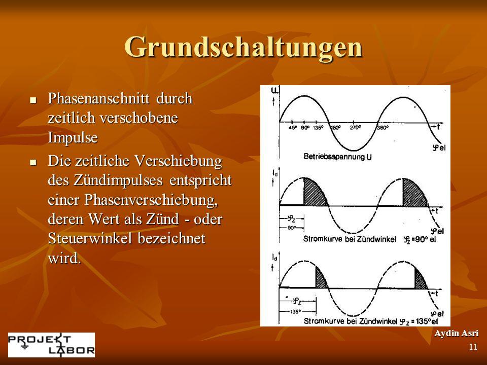 Grundschaltungen Phasenanschnitt durch zeitlich verschobene Impulse Phasenanschnitt durch zeitlich verschobene Impulse Die zeitliche Verschiebung des
