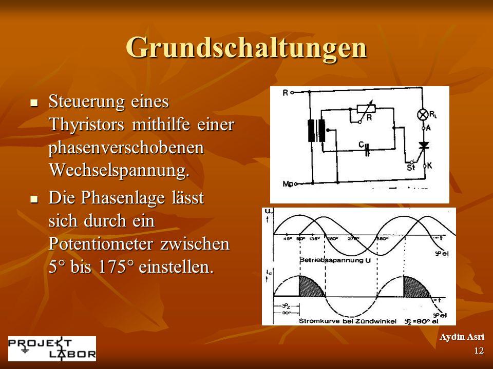 Grundschaltungen Steuerung eines Thyristors mithilfe einer phasenverschobenen Wechselspannung. Steuerung eines Thyristors mithilfe einer phasenverscho
