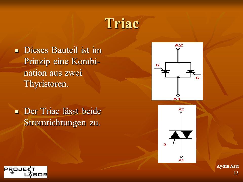 Triac Dieses Bauteil ist im Prinzip eine Kombi- nation aus zwei Thyristoren. Dieses Bauteil ist im Prinzip eine Kombi- nation aus zwei Thyristoren. De