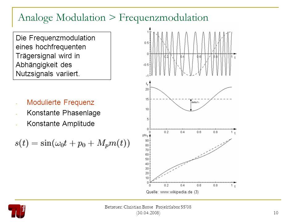 Betreuer: Christian Brose Projektlabor SS'08 (30.04.2008) 10 Analoge Modulation > Frequenzmodulation - Modulierte Frequenz - Konstante Phasenlage - Ko