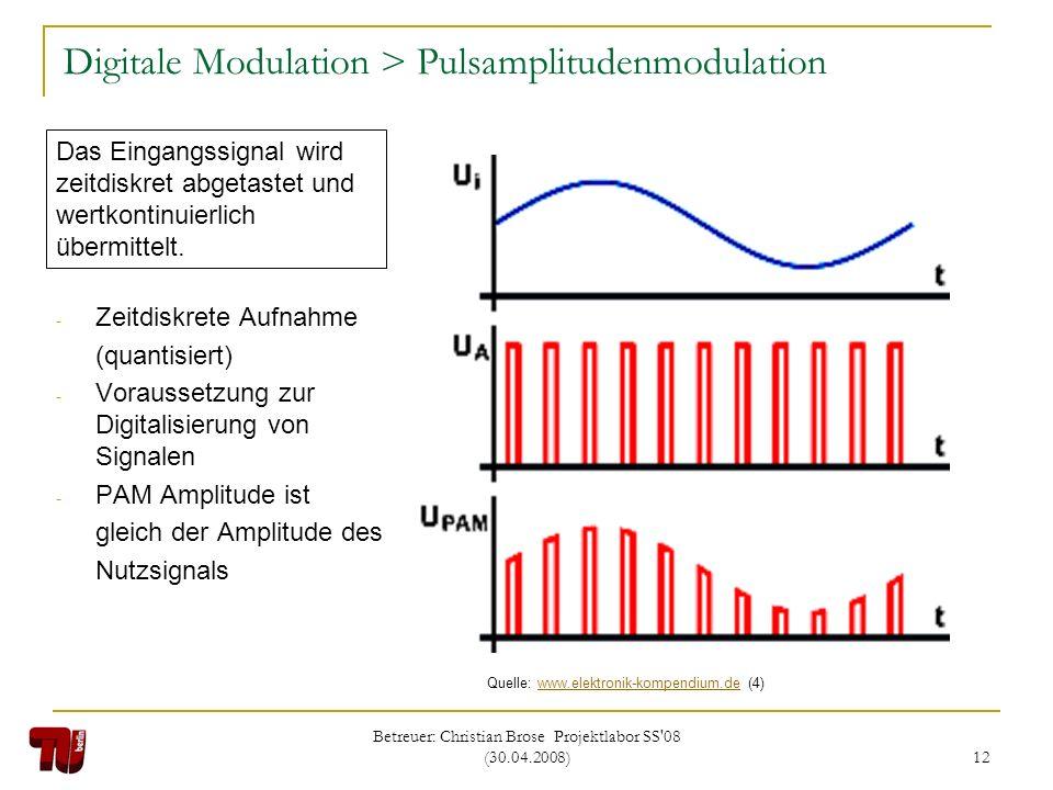 Betreuer: Christian Brose Projektlabor SS'08 (30.04.2008) 12 Digitale Modulation > Pulsamplitudenmodulation - Zeitdiskrete Aufnahme (quantisiert) - Vo