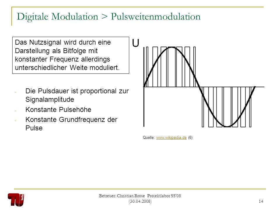 Betreuer: Christian Brose Projektlabor SS'08 (30.04.2008) 14 Digitale Modulation > Pulsweitenmodulation - Die Pulsdauer ist proportional zur Signalamp