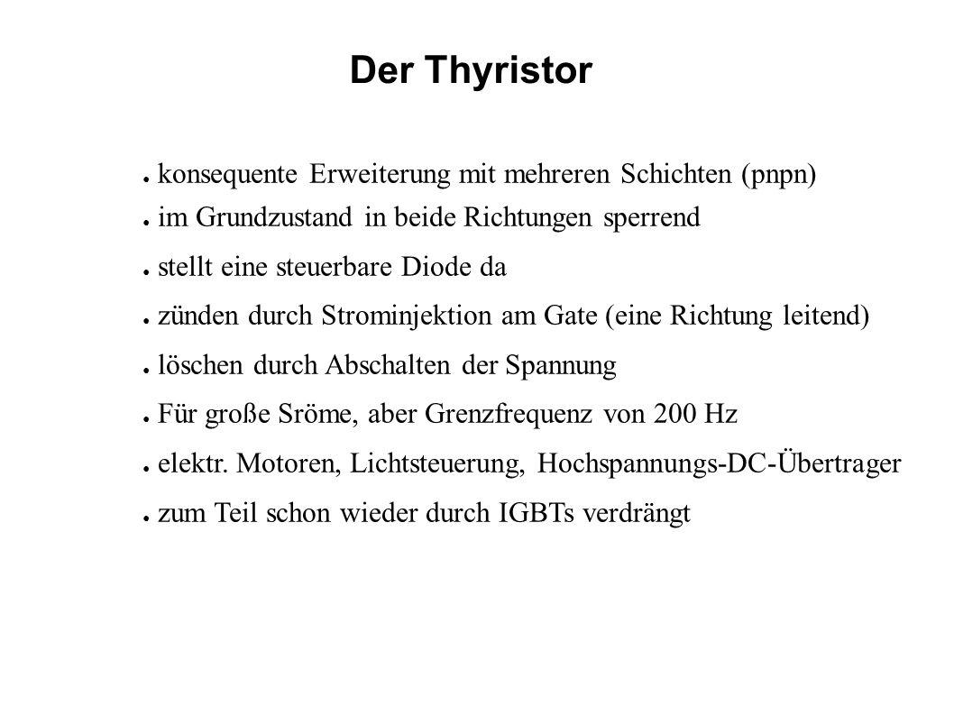 Der Thyristor konsequente Erweiterung mit mehreren Schichten (pnpn) im Grundzustand in beide Richtungen sperrend stellt eine steuerbare Diode da zünde
