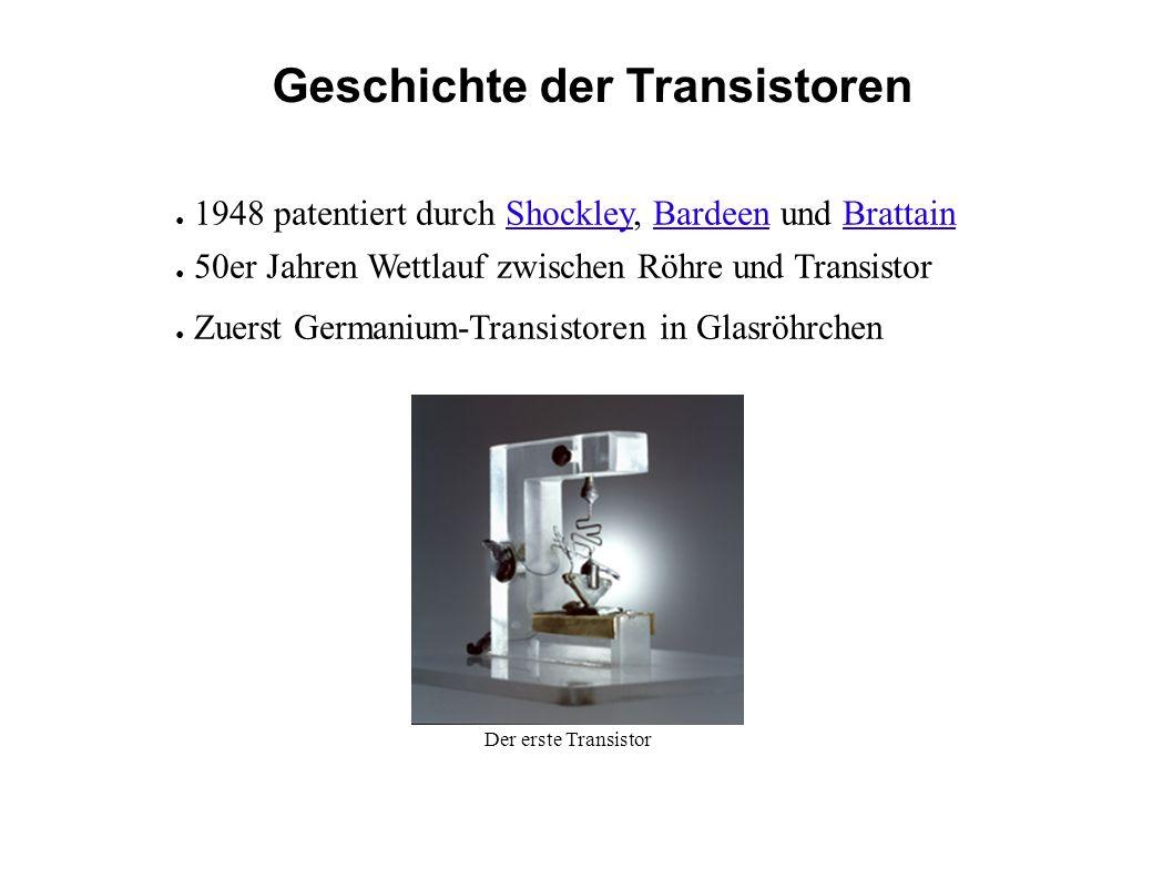 Geschichte der Transistoren 1948 patentiert durch Shockley, Bardeen und Brattain 50er Jahren Wettlauf zwischen Röhre und Transistor Zuerst Germanium-Transistoren in Glasröhrchen Der erste Transistor