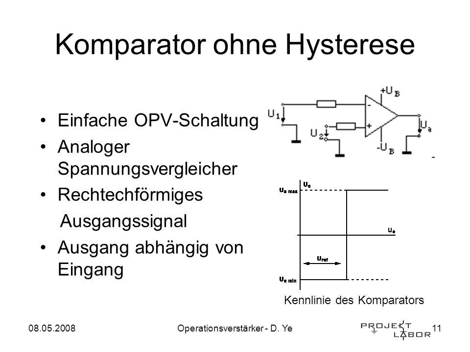 08.05.2008Operationsverstärker - D. Ye11 Komparator ohne Hysterese Einfache OPV-Schaltung Analoger Spannungsvergleicher Rechtechförmiges Ausgangssigna