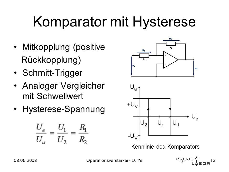 08.05.2008Operationsverstärker - D. Ye12 Komparator mit Hysterese Mitkopplung (positive Rückkopplung) Schmitt-Trigger Analoger Vergleicher mit Schwell