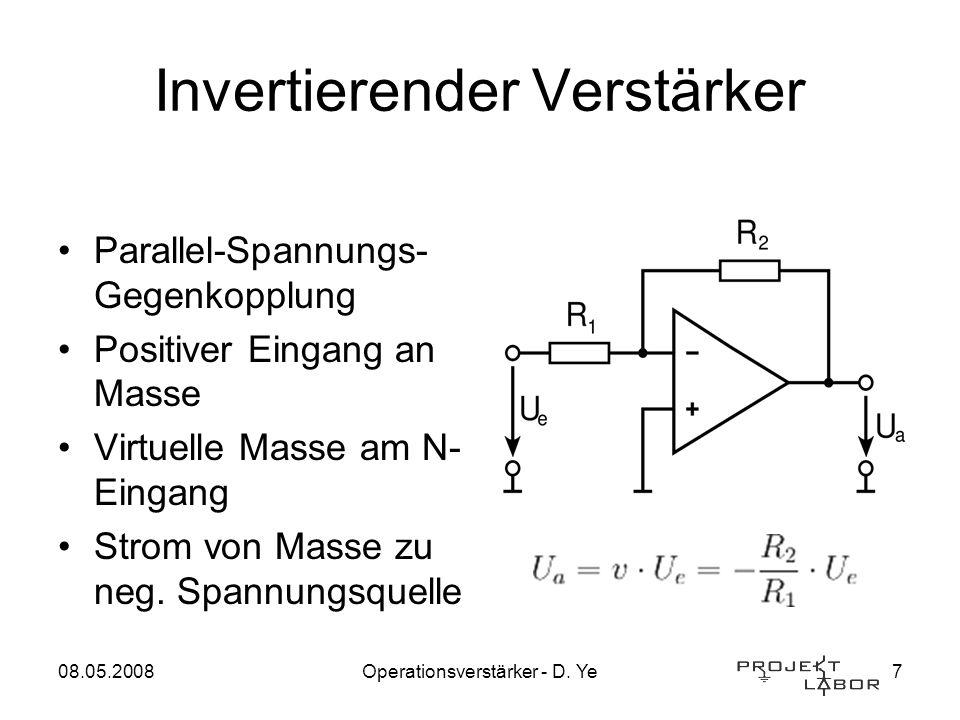 08.05.2008Operationsverstärker - D. Ye7 Invertierender Verstärker Parallel-Spannungs- Gegenkopplung Positiver Eingang an Masse Virtuelle Masse am N- E