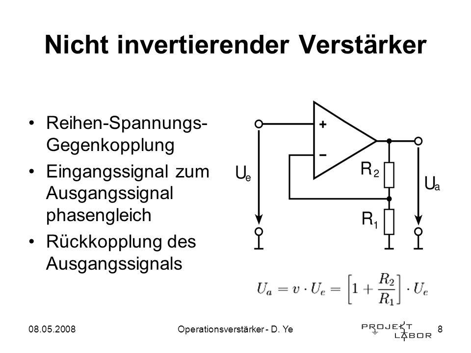 08.05.2008Operationsverstärker - D. Ye8 Nicht invertierender Verstärker Reihen-Spannungs- Gegenkopplung Eingangssignal zum Ausgangssignal phasengleich