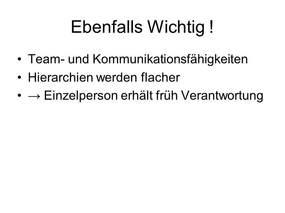 Ebenfalls Wichtig ! Team- und Kommunikationsfähigkeiten Hierarchien werden flacher Einzelperson erhält früh Verantwortung
