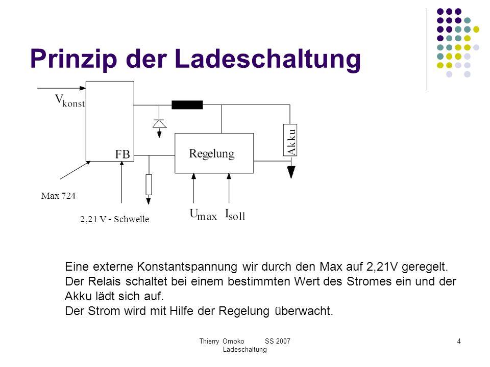 Thierry Omoko SS 2007 Ladeschaltung 4 Prinzip der Ladeschaltung 2,21 V - Schwelle Max 724 Eine externe Konstantspannung wir durch den Max auf 2,21V ge